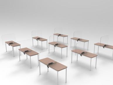 Mobiles Tisch-Trennwand-System für Schule, UNI, FH, VHS, Wifi, BFI